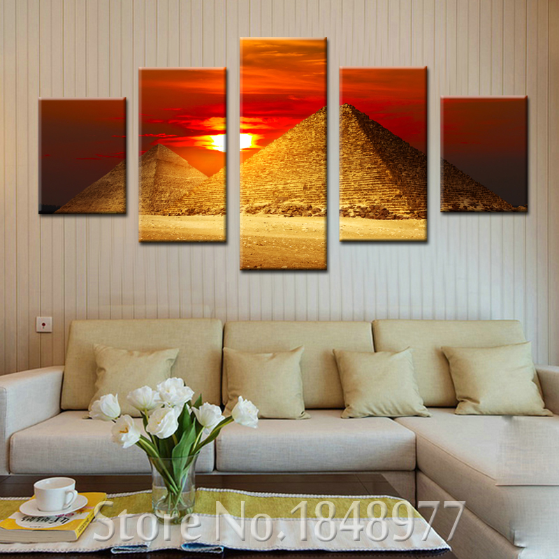 5 Panels Cuadros Egyptian Decor Canvas Art Modern Oil Painting Wall Pictures For Living Room Decoration Egypt