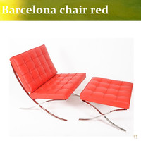 U BEST High Quality Barcelona Chair With Ottoman Barcelona Single Sofa Living Room Chair Red Real