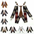 Men's Adjustable Clip on Elastic Suspenders Unisex Striped Plaid Floral Braces 3.5cm Width BD627-BD640