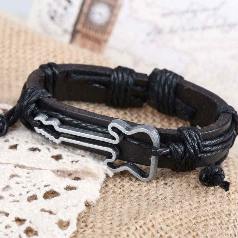 Fashion Bracelets for Women Men Punk Rock Guitar Shape Girl Boy String Band Bangle Braid Bracelet Jewelry Gift for Male BH