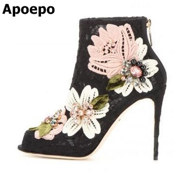 Фото Hot Selling Lace Embroider Colorful Crystal Flower Ankle Spring/Autumn Women Boots thin Heel New Design Shoes