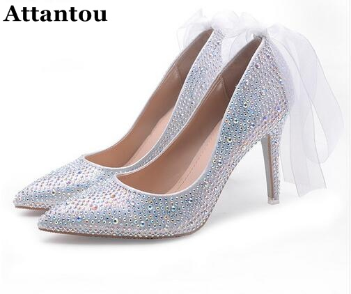 Exquisite Ribbons Rhinestone Women High Heels Pumps beautiful Pointed Toe Stiletto Heels Wedding Banquet Shoes Red Silver pointed toe high heels for wedding party rhinestone covered bridal dress shoes stiletto heel banquet pumps white pink red color