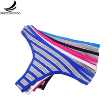 Prettywowgo 6 Pcs New Arrival 2019 Sexy G String Thong Women Striped Cotton Underwear 7369