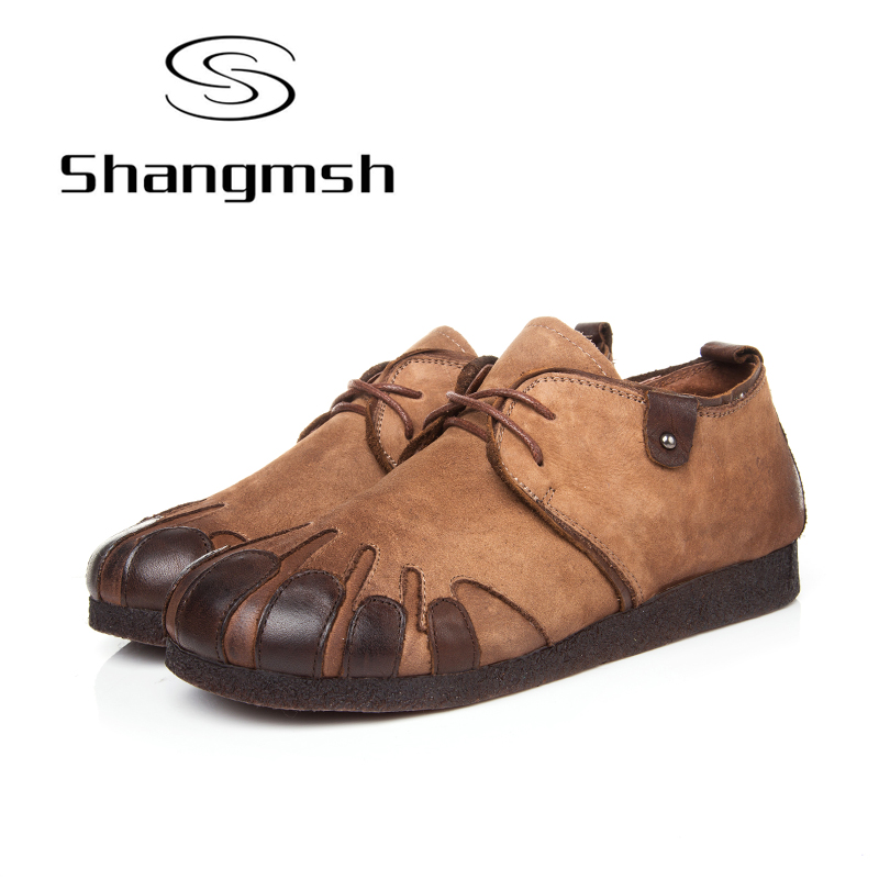 Shangmsh Womens Leather Shoes Flat Comfotable Round Toe Handmade Shoes Solid Causal Moccasins Designer Shoes Women Luxury 2017
