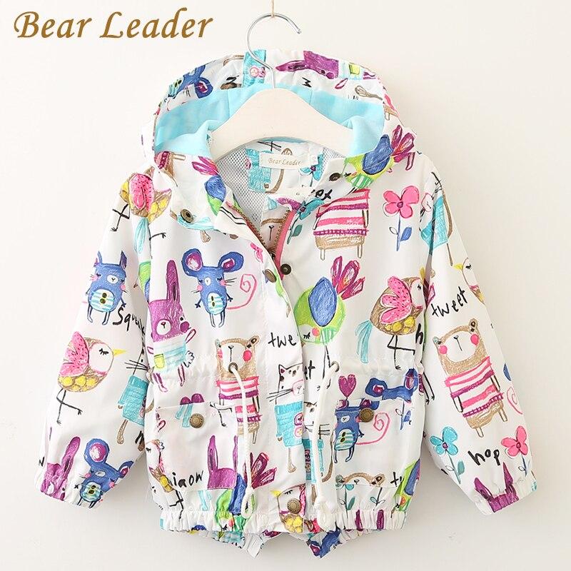Bear Leader Baby Girls Coats 2017 Autumn Baby Jackets Hooded Graffiti Printing Baby Outerwear Coats Kids