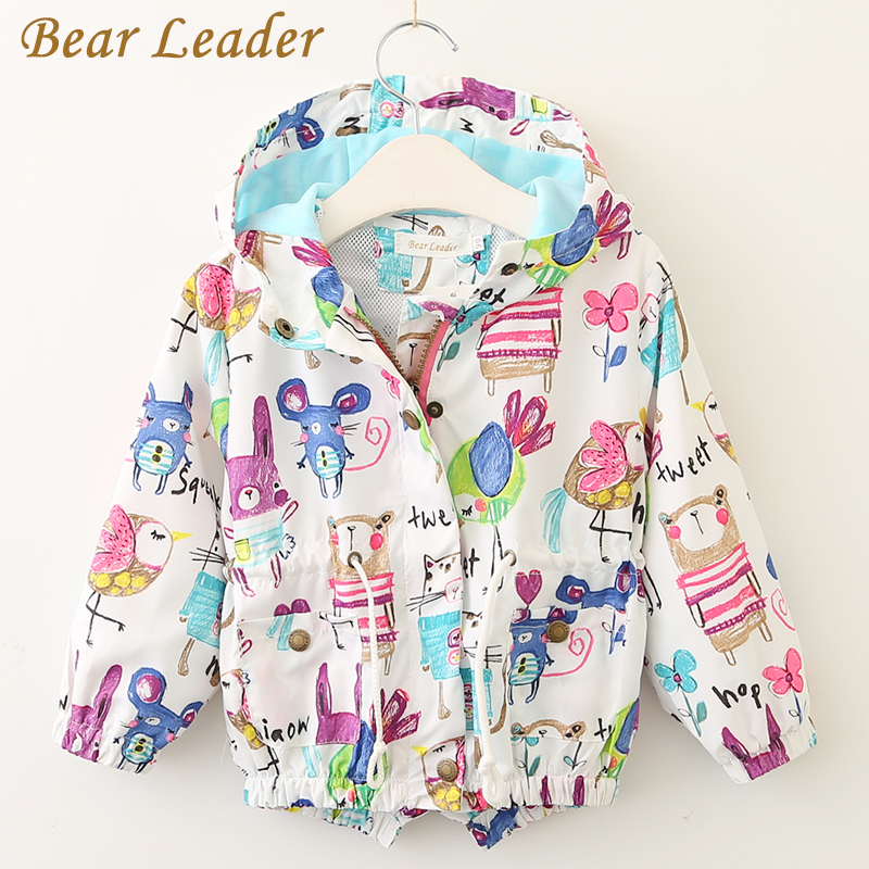 Bear Leader Baby Girls Coats 2018 New Spring Baby Jackets Hooded Graffiti Printing Baby Outerwear&Coats Kids Children Clothing new spring teenagers kids clothes pu leather girls jackets children outwear for baby girls boys zipper clothing coats costume