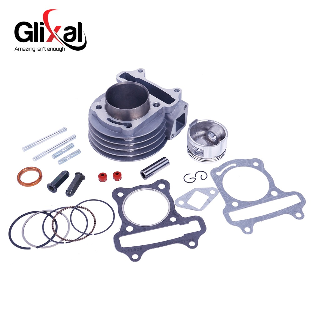 Glixal GY6 72cc 80cc Chinese Scooter 47mm Big Bore Cylinder kit Rebuild Kit with Piston Kit 139QMB 139QMA Moped ATV Engine new set 47mm big bore kit cylinder piston rings fit for gy6 50cc to 80cc 4 stroke scooter moped atv with 139qmb 139qma engine