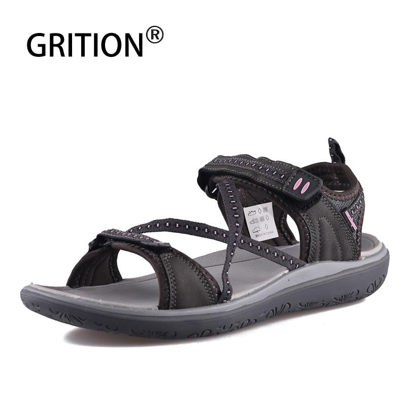 GRITION Flat Sandals Women Comfort Soft LightWeight Ladies Beach Sandals Open Toe Outdoor Summer Cross Tied Webbing Shoes 2020