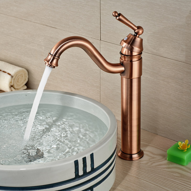Good Quality One Hole Mixer Tap Bathroom Vessel Sink Water Faucet Antique Bronze Deck Mounted