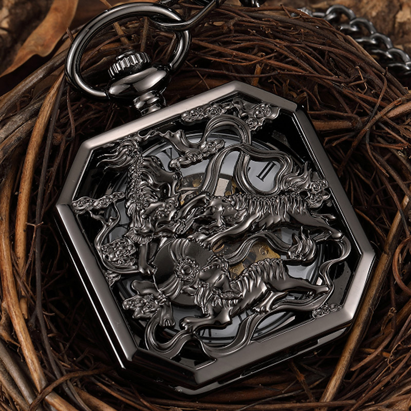 Black Hollow Chinese Mascot Lion Hand Wind Mechanical Pocket Watch Men Retro Skeleton Fob Chain Watch Steampunk Clock Gift Box fashion silver steel steampunk mechanical pocket watch men women necklace clock gift fob vintage hollow pocket watch p802