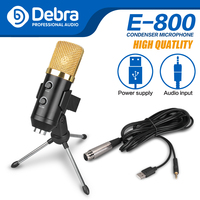 Debra E 800 Condenser Microphone For Computer Studio 3.5mm Wired Stand USB Mic For PC Karaoke Laptop Recording For PC Game
