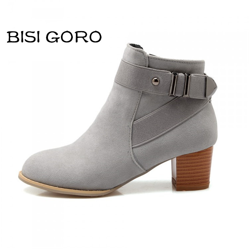 ФОТО BISI GORO spring shoes women boots pointed toe thick heel ladies ankle boots for women grey suede boots short riding boots shoes