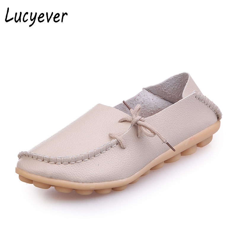 Lucyever Plus Size 2017 Summer Women Genuine Leather Ballet Shoes Woman Slip on Flats Round Toe Comfortable Casual Loafer Shoes fshh qfn18 to dip18 programmer adapter wson18 udfn18 mlf18 ic test socket size 3 6mmx3 6mm pin pitch 0 5mm