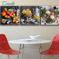 Touoilp 3 Pieces 5D DIY Diamond Painting Of Fruit For Kitchen Embroidery Cross Stitch Full Rhinestone Mosaic Painting Home Decor