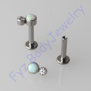 Image 1 - G23 Titanium  Labert Lip Percing 14G 16G Internal Thread Crystal CZ With Opal Ear Tragus Cartilalges Stud Earring Body Jewelry