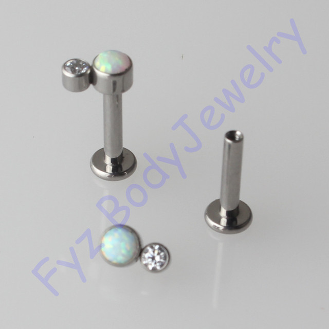 G23 Titanium  Labert Lip Percing 14G 16G Internal Thread Crystal CZ With Opal Ear Tragus Cartilalges Stud Earring Body Jewelry