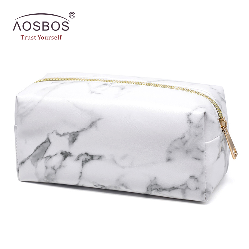 Aosbos Marble PU Leather Small Cosmetic Bags Women Fashion White Makeup Bag Zipper Pouch Travel Organizer neceser mujer ...