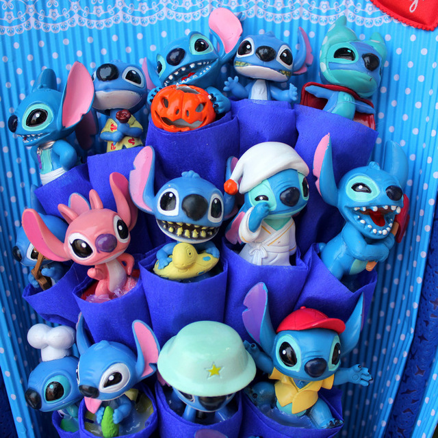 Hot Model Stitch Soup Flower Stitch Plush Toys Anime Lilo and Stitch PVC Animal Dolls Kawaii