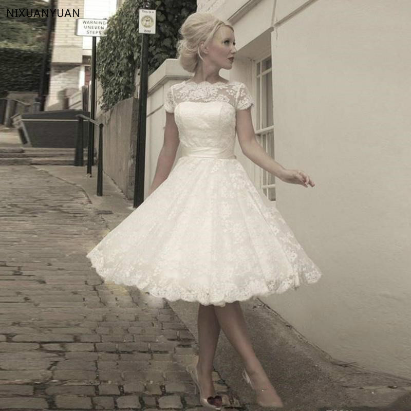 2020 Lace Short Wedding Dresses Short Sleeve Ivory A Line Tulle Appliques Sashes Bow Bridal Gowns Knee Length Wedding Gown