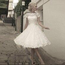 2020 vestidos de novia cortos de encaje de manga corta marfil una línea tul apliques fajas arco vestidos de novia longitud de rodilla vestido de boda