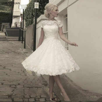 2020 Lace Short Wedding Dresses Short Sleeve Ivory A Line Tulle Appliques Sashes Bow Bridal Gowns Knee Length Wedding Gown - DISCOUNT ITEM  32 OFF Weddings & Events
