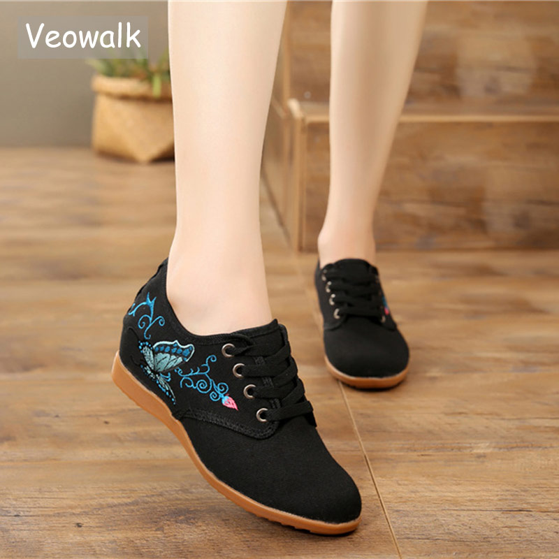 Womens Canvas Low Top Sneaker Lace-up Vintage Casual Shoes