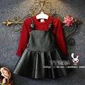 Roupa da criança Meninas Vestido + Camisola 2 PCS Conjunto de Roupas de Moda Meninas de Couro Traje Pullover Sólida Top Crianças Conjunto de Roupas