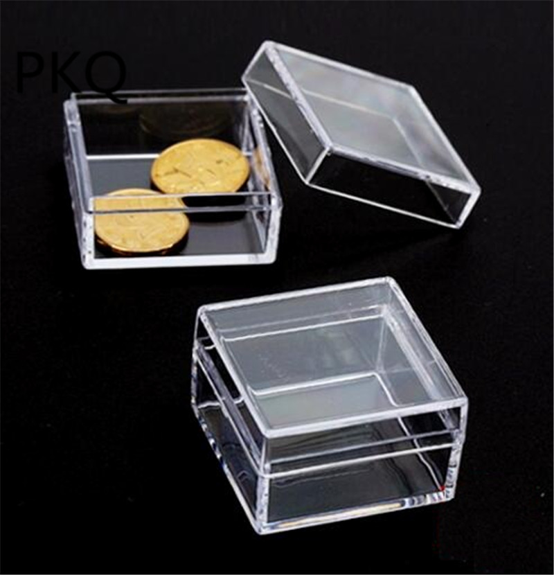 16 Sizes Small Square Plastic Box Clear Transpa Collection Container Case Gift Storage Item