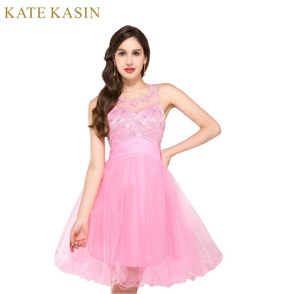 Blue Pink Green Short   Prom     Dresses   2017 O Neck Teens Ball Gown Knee Length Beaded Homecoming   Dress   Vestido de Festa   Prom   Gowns