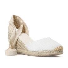 Женские сандалии на танкетке 0 3 см, эспадрильи с ремешком на щиколотке, выразительная хлопковая ткань, 0 3 см