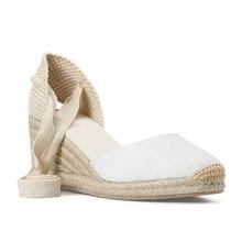 Sandalias de cuña de 0 3cm para mujer, Tienda Soludos, gorra con correa en el tobillo, alpargata con punta, tela de algodón concisa, {sandalias}