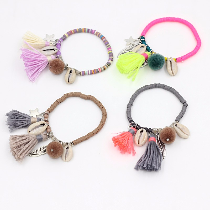 Colorful Fimo Beads Handmade Shell Bracelets with Tassel Pendant