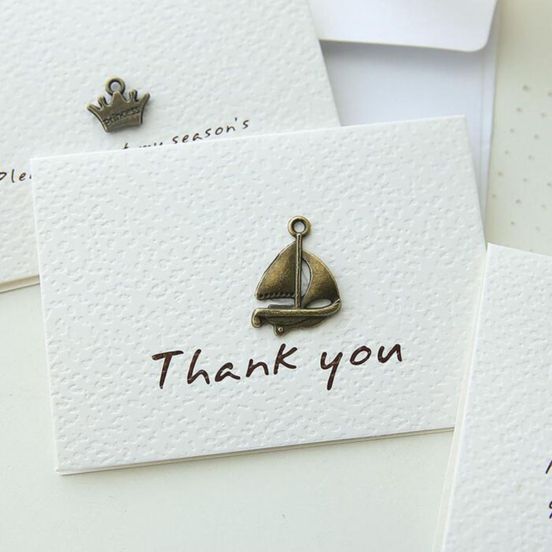 Vintage Mini Thank You Greeting Card Leave Message Cards Lucky
