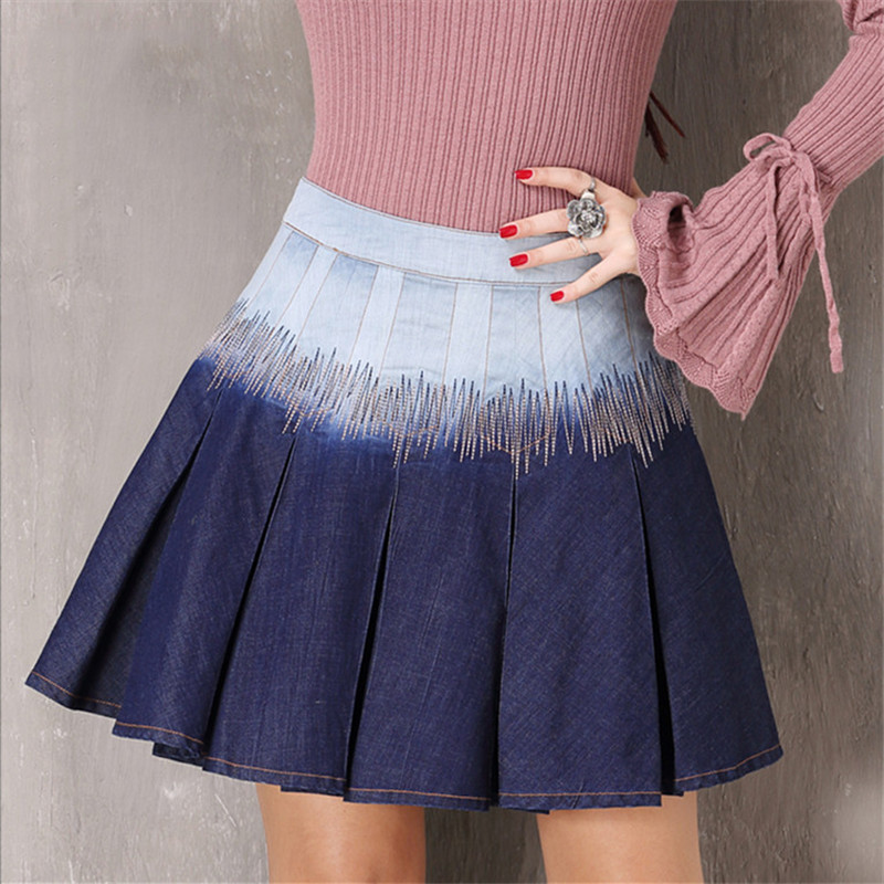 Vintage Women A-Line Skirt 2018 Spring High Waist Embroidery Mini Cotton Skirts Denim Pleated Sexy shirt For girls