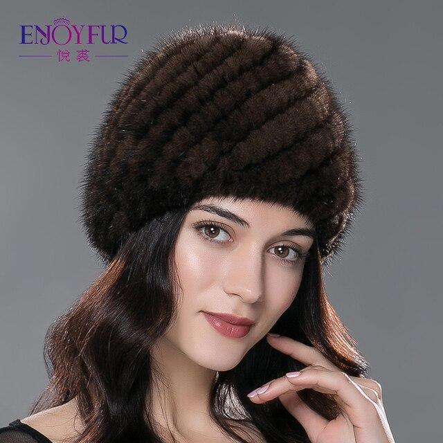 Sombrero de piel de visón de invierno para mujeres de piel natural  auténtica gorra de piña 63a79a8c42b7