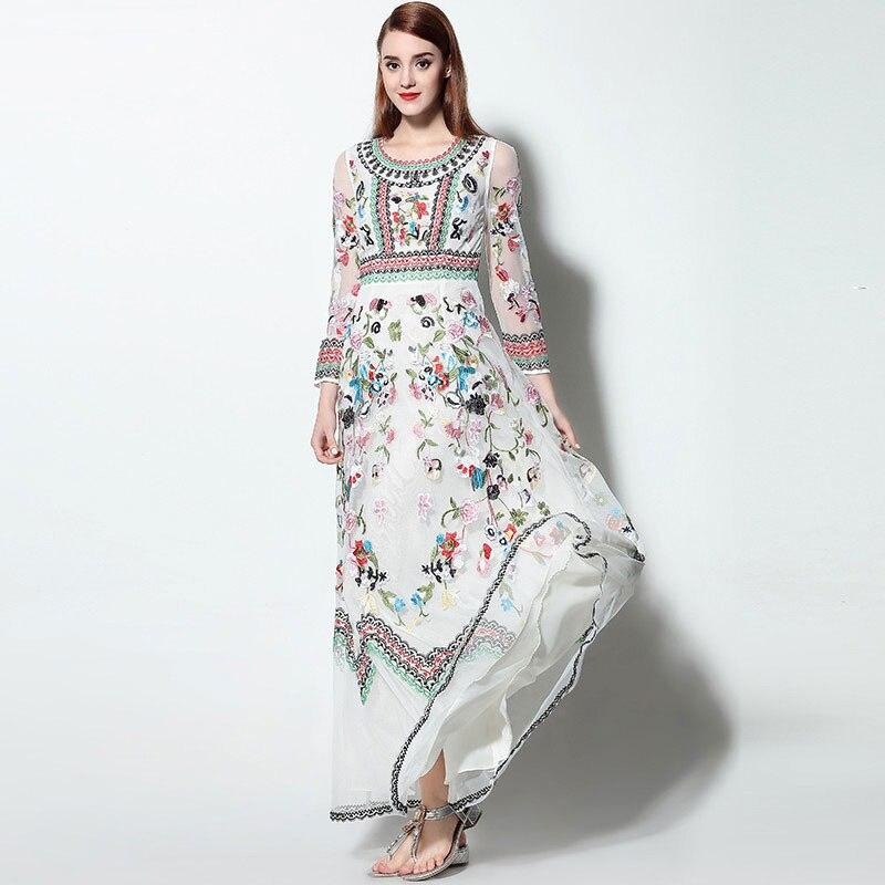 De malla de Costura de Encaje Bordado de Flores Las Mujeres Vestido ...