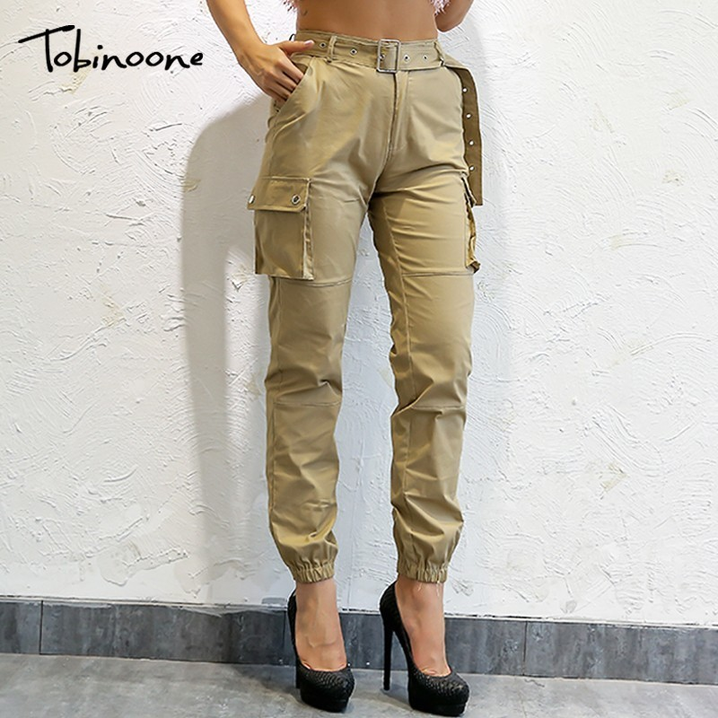 Tobinoone Streetwear Cargo   Pants   Women Casual Joggers Khaki High Waist Loose Female Trousers Korean Style Ladies   Pants     Capri