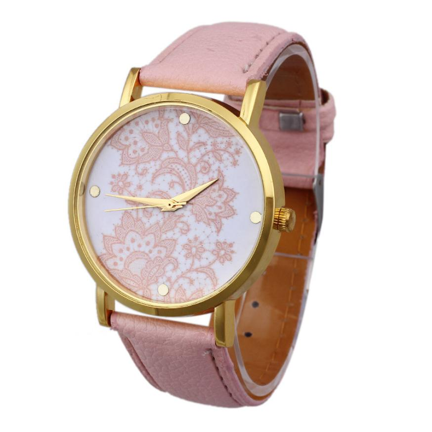 2016 Women Wrist Watches Round Lace Printed Faux Leather Quartz Analog Dress relogio feminino reloj mujer Good-looking JUL 12 relojes mujer 2017 women casual quartz watches leather band analog round wrist watch clock female dress relogio feminino