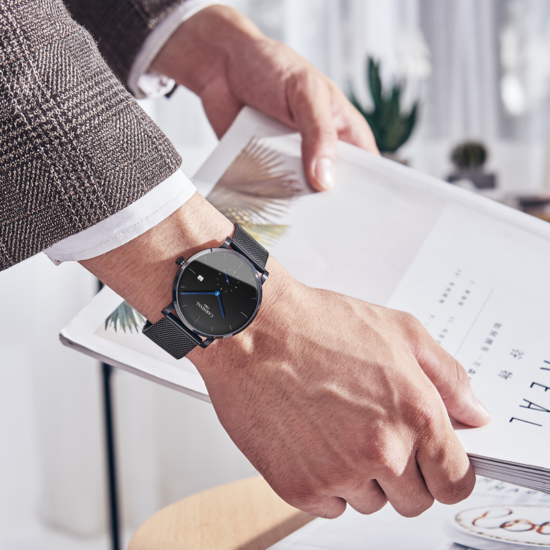 Carnaval masculino relógio automático malha banda breve ultra fino pequenos segundos dial data luxo relógio mecânico simples relógio de negócios - 4
