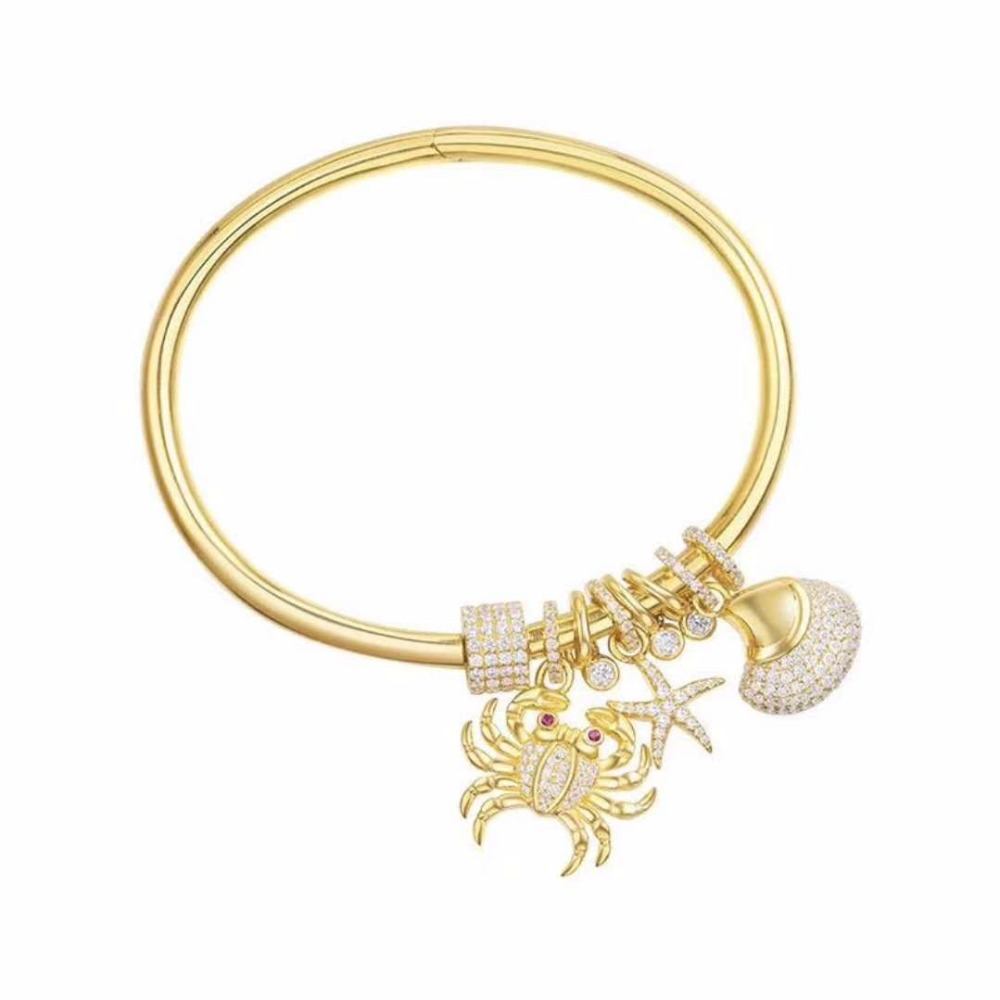 ZOZIRI monaco france brand jewelry Sea crab bracelet for women 925 sterling silver zircon sea shell fish charms bangle bijoux real sterling silver initial letter amour necklace red coral shell choker zircon name pendant for women brand monaco jewelry
