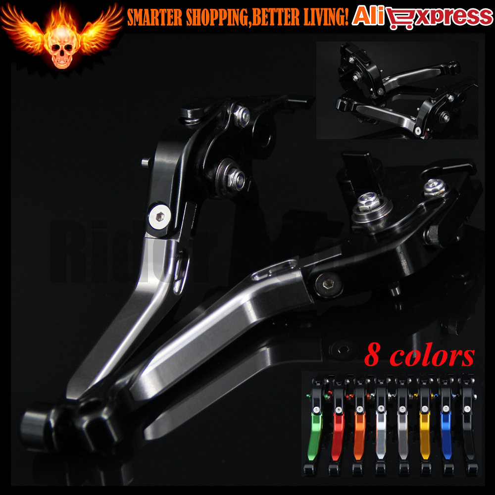 ФОТО Titanium+Black 8 Colors CNC Adjustable Folding Extendable Motorcycle Brake Clutch Levers For Yamaha FJR 1300 2003