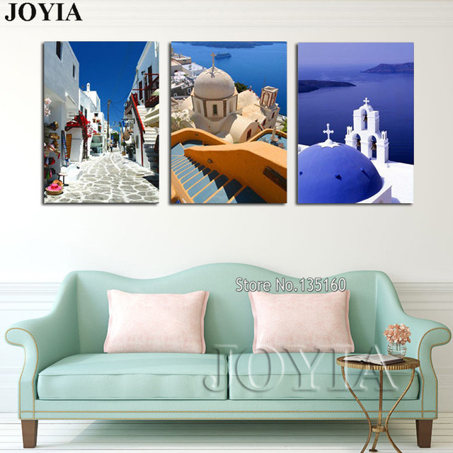 3 Piece Large Wall Hang Pictures Greece Santorini Island Scenery