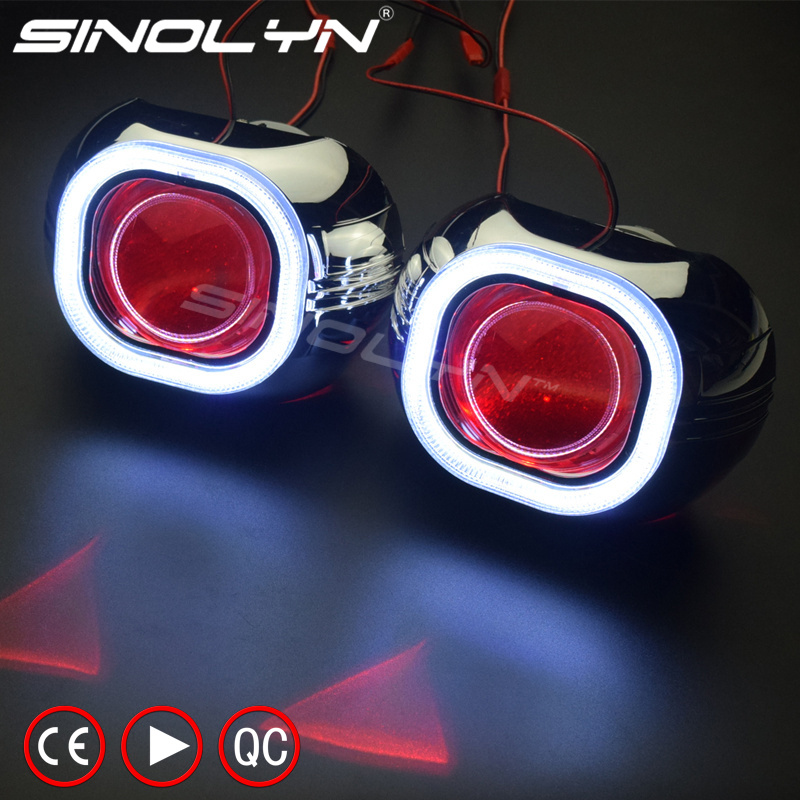 SINOLYN Metal H4 Q5 Square COB LED Angel Eyes Halo HID Bi xenon Projector Lens Headlight Devil Demon Eye Car Styling Automobiles royalin car styling hid h1 bi xenon headlight projector lens 3 0 inch full metal w 360 devil eyes red blue for h4 h7 auto light