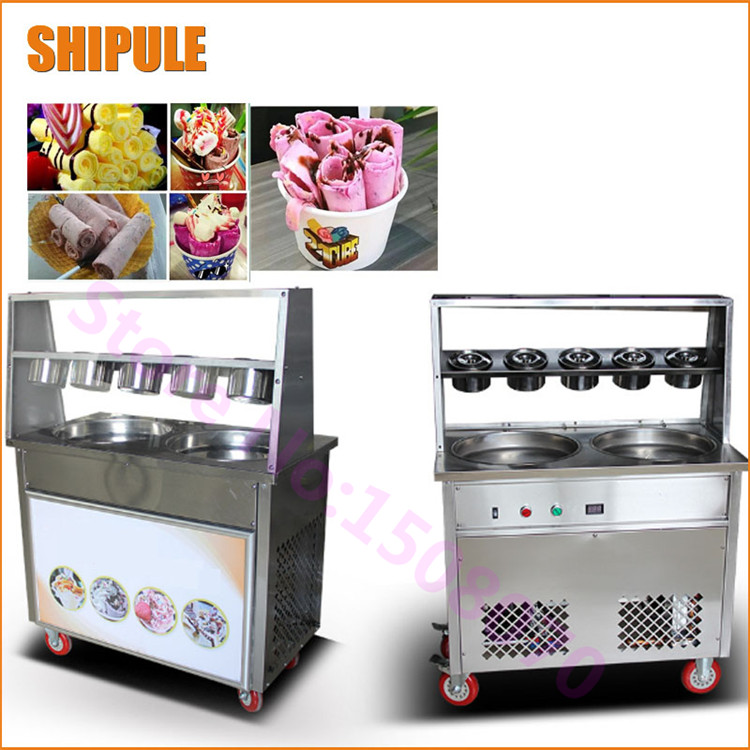 Commercial Double Round Rolled Fried Ice Cream Machine Fried Fruit Ice Cream Roll Maker Making Machine