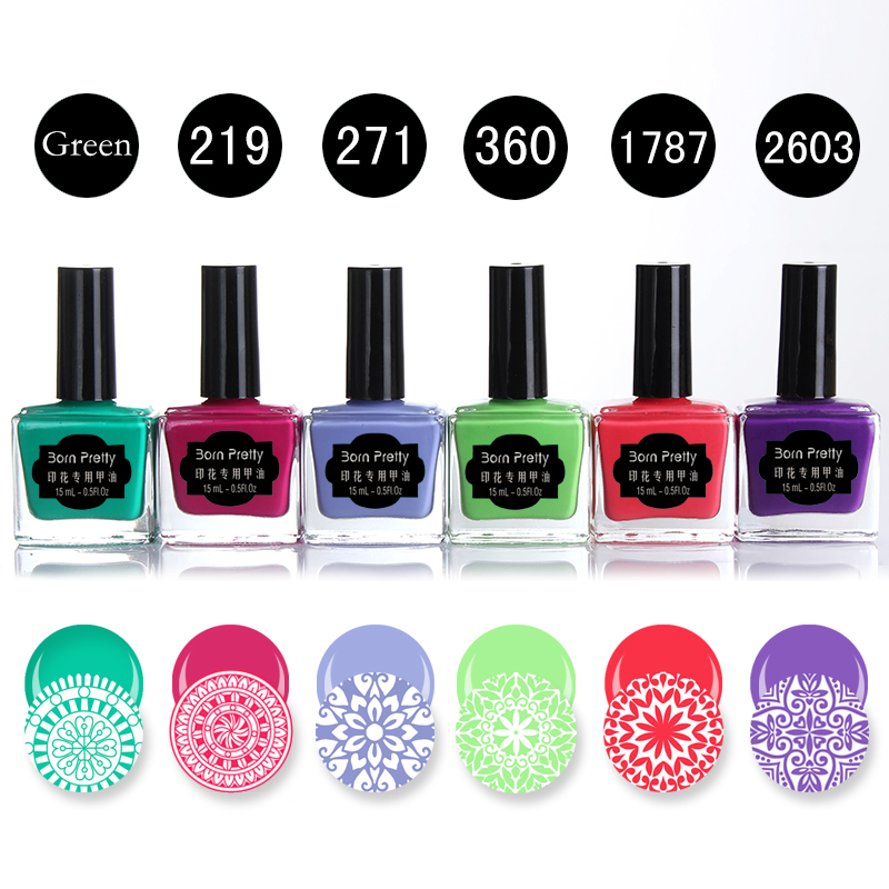 BORN PRETTY 6 Bottles 15ml Candy Colors Nail Stamping Polish Green Red Purple Manicure Nail Art Printing Varnish for Stamping 15ml metallic mirror effect metal silver nail art polish varnish