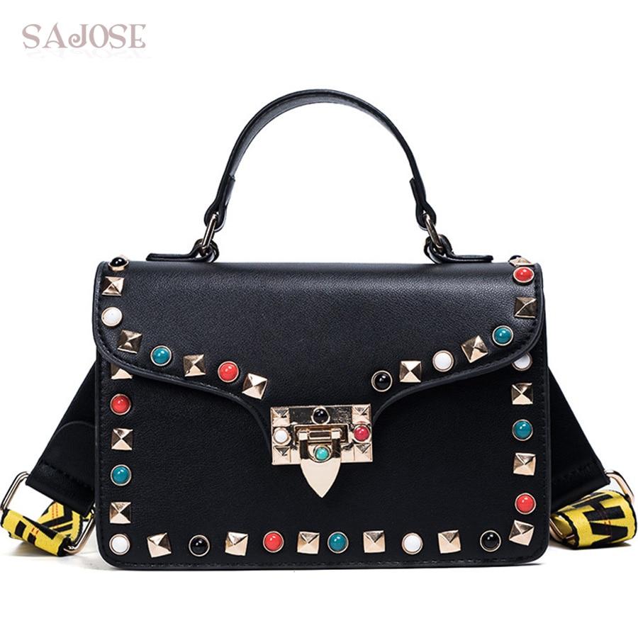 SAJOSE NEW Female Fashion Color Rivet Leather Bags Women s Messenger Ladies Shoulder Bag Women Crossbody