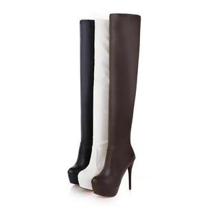Image 4 - Taoffenプラスサイズ 33 46 セクシーなオーバー膝腿ブーツ女性秋冬ロングブーツ靴女性プラットフォームベルベットのブーツ