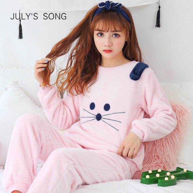 JULY'S SONG Cartoon Flannel Pajamas Sets Autumn&Winter Women Pajamas Cute Animal Female Homewear Thick Warm Women Sleepwear