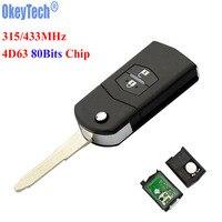 OkeyTech 2 Buttons 315MHz 433MHZ 4D63 80Bits Chip Folding Flip Car Remote Key Fob For Mazda
