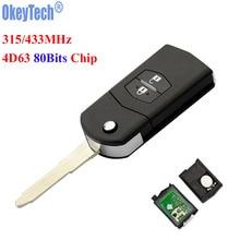 OkeyTech 2 Buttons 315MHz 433MHZ 4D63 80Bits Chip Folding Flip Car Remote Key Fob for Mazda 3 6 M3 M6 No Logo Free Shipping